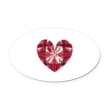 heart9a.png Oval Car Magnet
