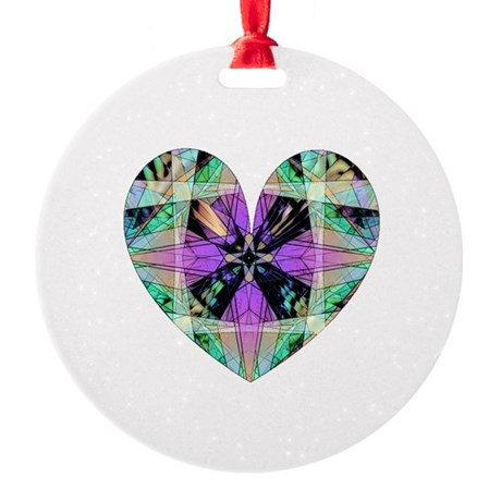 heart8.png Round Ornament