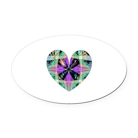heart8.png Oval Car Magnet