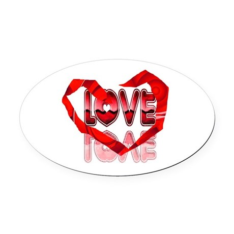 heart7e.png Oval Car Magnet