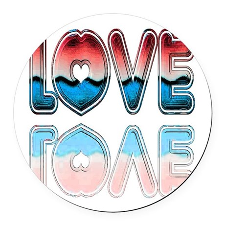 love4a.png Round Car Magnet