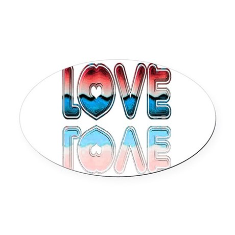 love4a.png Oval Car Magnet