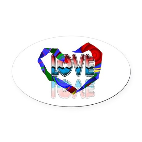 heart7b.png Oval Car Magnet