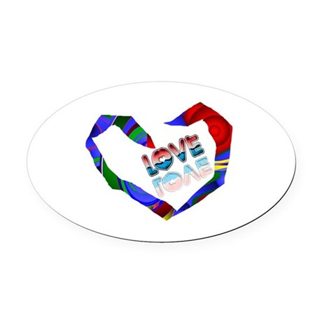 heart7a.png Oval Car Magnet