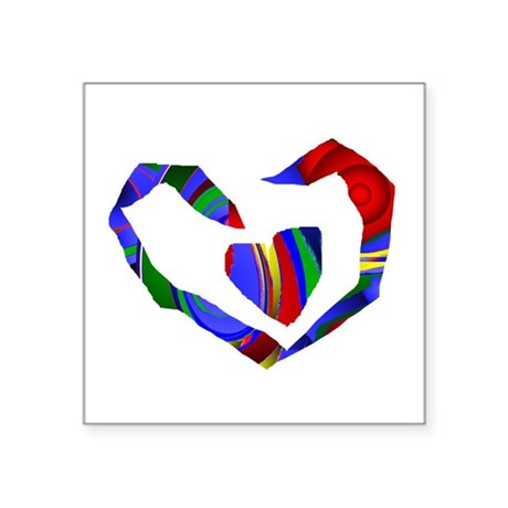 "heart7.png Square Sticker 3"" x 3"""
