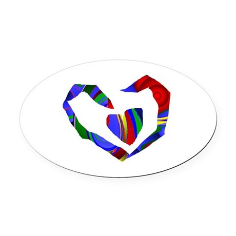 heart7.png Oval Car Magnet
