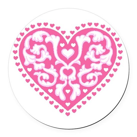 heart3.png Round Car Magnet
