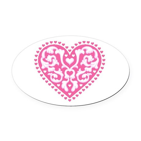 heart3.png Oval Car Magnet