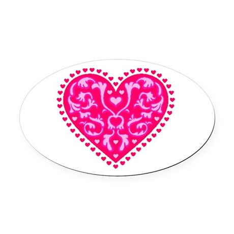 heart2.png Oval Car Magnet