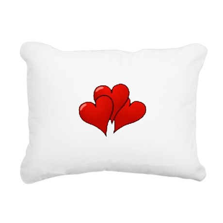 three hearts Rectangular Canvas Pillow