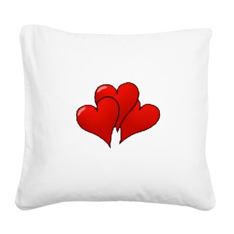 three hearts Square Canvas Pillow