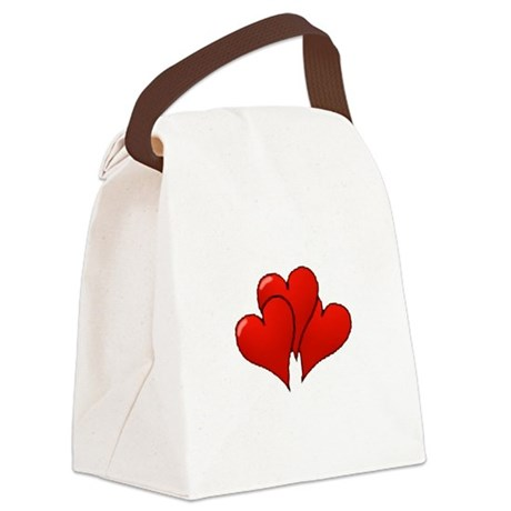 three hearts Canvas Lunch Bag
