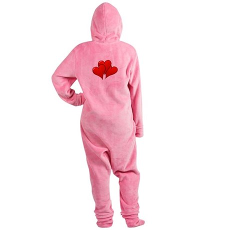 three hearts Footed Pajamas
