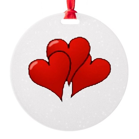 three hearts Round Ornament