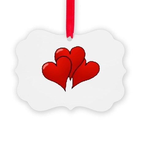 three hearts Picture Ornament