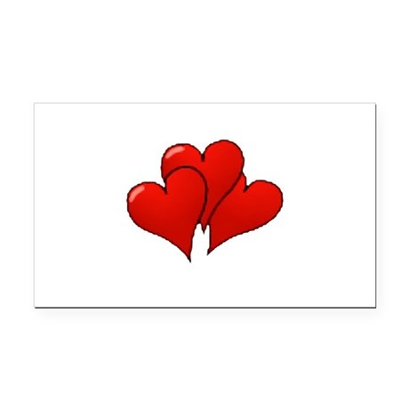 three hearts Rectangle Car Magnet
