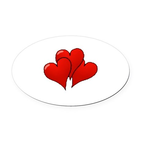 three hearts Oval Car Magnet