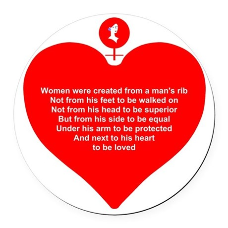 Women Created Heart Round Car Magnet