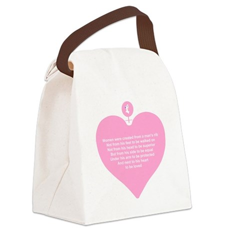 Women Created Heart Canvas Lunch Bag