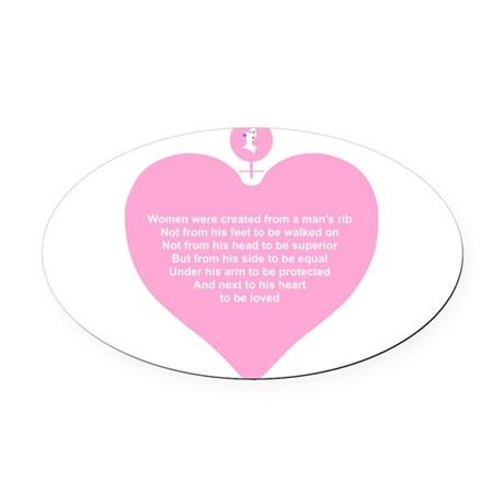 Women Created Heart Oval Car Magnet
