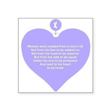 Women Created Heart Square Sticker 3&quot; x 3&quot;