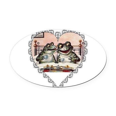 Frog Couple Oval Car Magnet