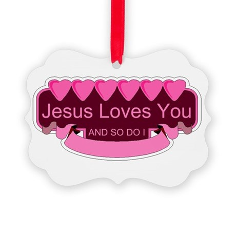 Jesus Loves You Picture Ornament