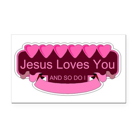 Jesus Loves You Rectangle Car Magnet