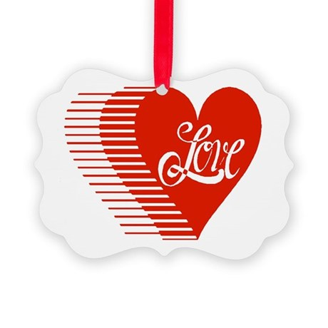 love heart Picture Ornament
