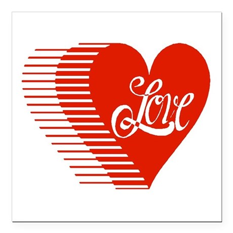 love heart Square Car Magnet 3&quot; x 3&quot;