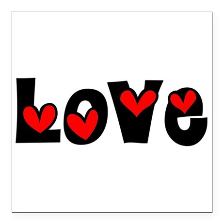 Love Square Car Magnet 3&quot; x 3&quot;