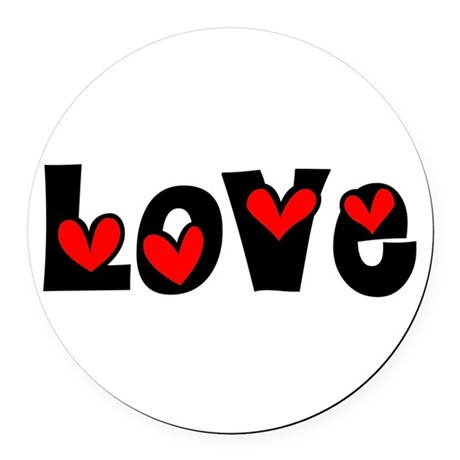 Love Round Car Magnet