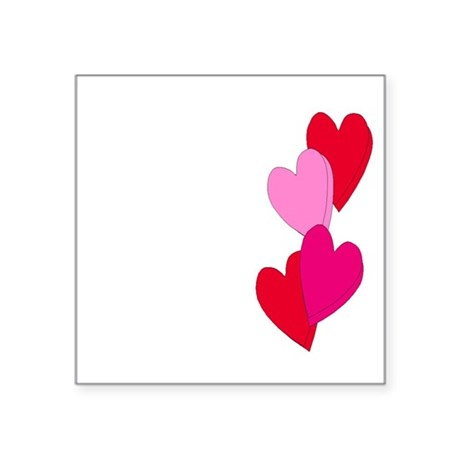 "Candy Hearts Square Sticker 3"" x 3"""