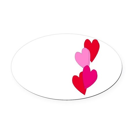 Candy Hearts Oval Car Magnet
