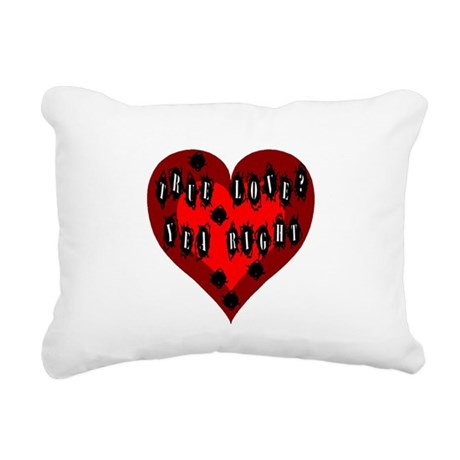 Bullet Hole Heart Rectangular Canvas Pillow