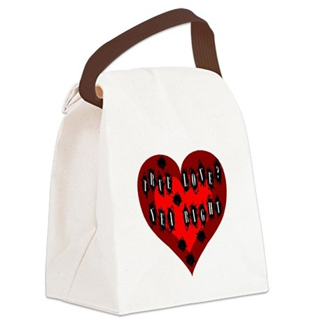 Bullet Hole Heart Canvas Lunch Bag