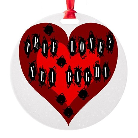 Bullet Hole Heart Round Ornament