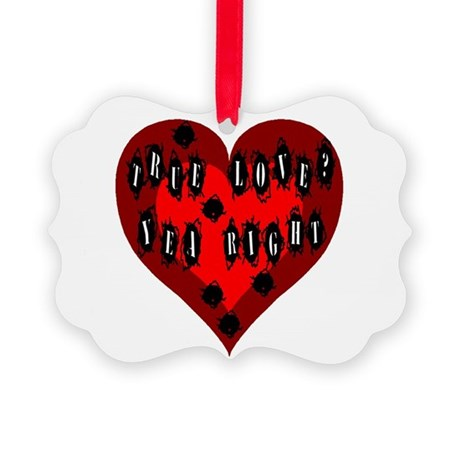 Bullet Hole Heart Picture Ornament