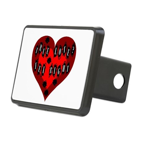Bullet Hole Heart Rectangular Hitch Cover