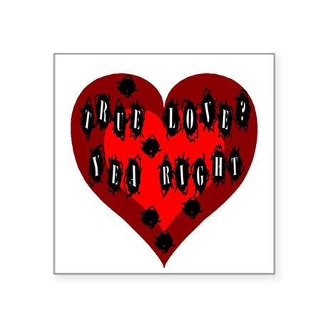 "Bullet Hole Heart Square Sticker 3"" x 3"""