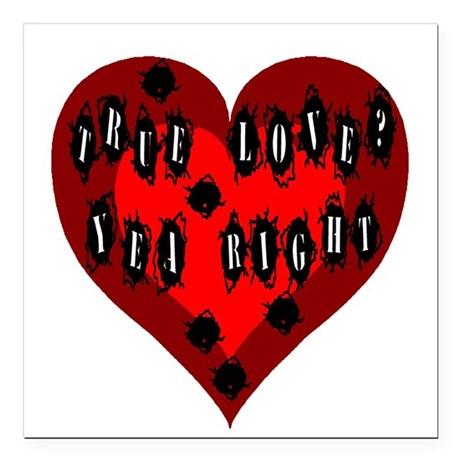 "Bullet Hole Heart Square Car Magnet 3"" x 3"""