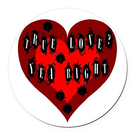 Bullet Hole Heart Round Car Magnet