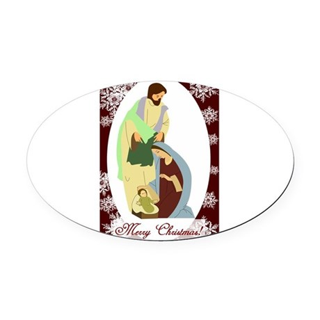 nativity2.png Oval Car Magnet