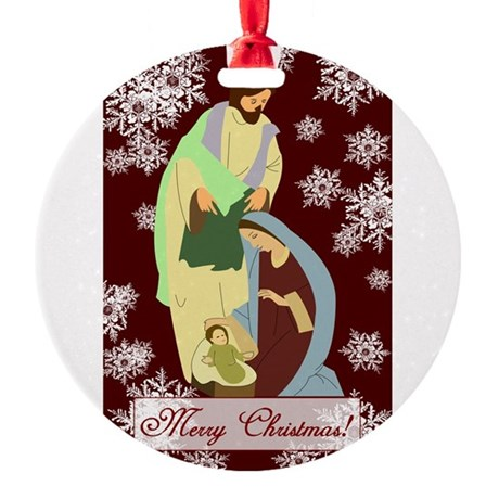 nativity2a.png Round Ornament