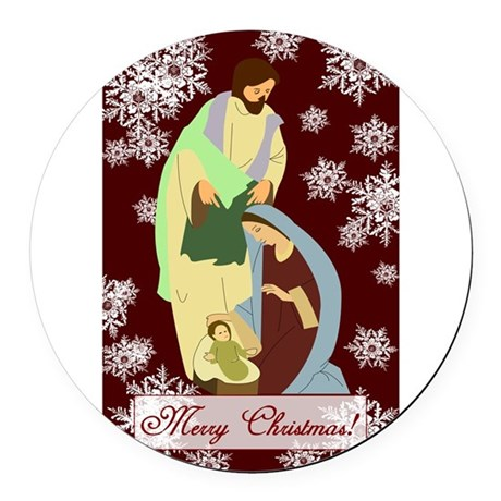 nativity2a.png Round Car Magnet