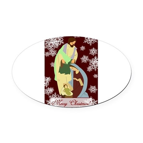 nativity2a.png Oval Car Magnet