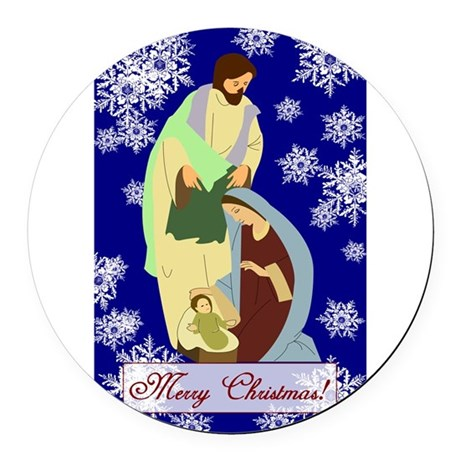 nativity2b.png Round Car Magnet