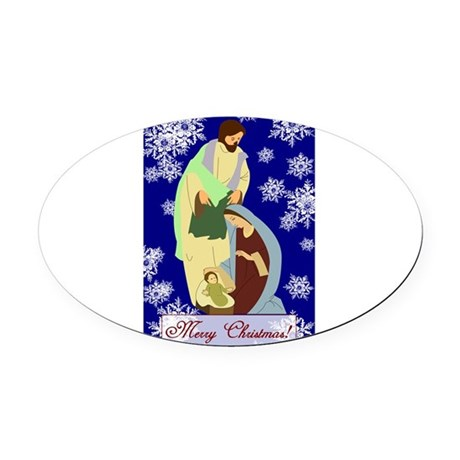 nativity2b.png Oval Car Magnet