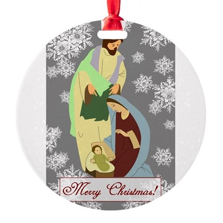 nativity2c.png Round Ornament