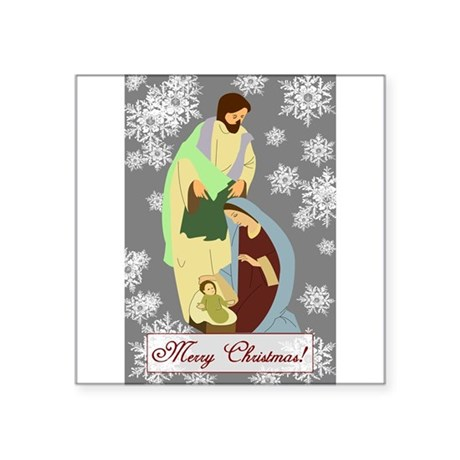 "nativity2c.png Square Sticker 3"" x 3"""